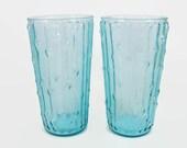2 Anchor Hocking Tahiti Glasses, Aquamarine Bamboo Textured Flat Tumblers, Vintage Blue Glass, Aqua Marine Tiki Glass