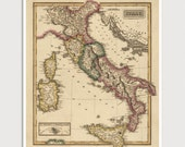 Old Italy Map Art Print 1817 Antique Map Archival Reproduction