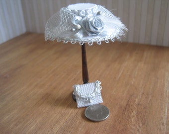 12th Scale Dollhouse Miniature Ladies Hat and Bag in White Silk
