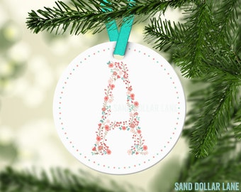 Custom Christmas Ornament - Initial Letter Coral Mint - Polka Dots Christmas Ornament  - Christmas Tree Decoration - Free Gift Box