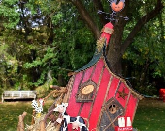 Birdhouse, Bird house, large birdhouse, leaning barn, barn bird house, cow, rooster, weather vane, one of a kind