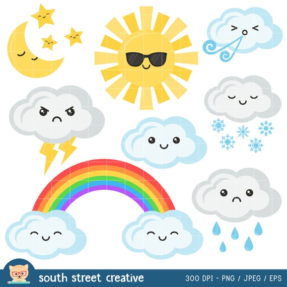 SALE Weather Kawaii Sun Cloud Rainbow Cute by ...