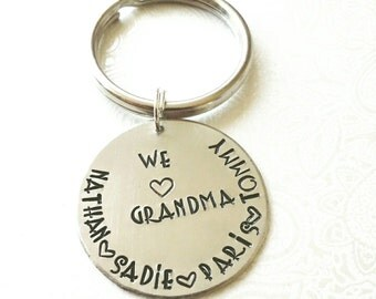 Grandma Gift Personalized, Personalized Keychain for Grandma, Gift for Papa, Gift for Grandma from Kids, Gift for Her, Grandparent Gift