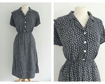 Vintage 80s Grunge Bow Print Dress US 8 EU 40 UK 12 Festival Boho Handmade