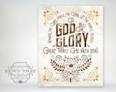 8x10 art print - To God Be the Glory - great things He hath done. Praise the Lord, Folk art florals, Christian Hymn Poster
