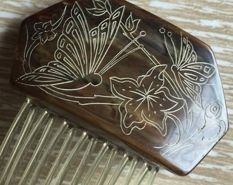 Vintage Carved Butterfly Hair Comb