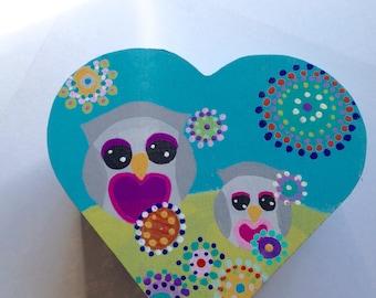 Mama Owl Jewelry Keepsake box folk art flower heart box home decor