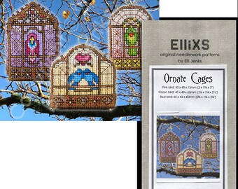 3 Bird Cages 3D Cross Stitch Pattern - Ornate Cages by Elli Jenks