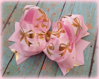 Pink and Gold Hair Bow...Navy and Gold Hair Bow...Aqua and Gold Hair Bow....Coral and Gold Hair Bow...