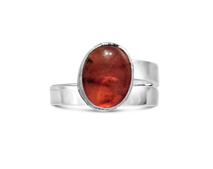Amber and Sterling Silver Adjustable Ring