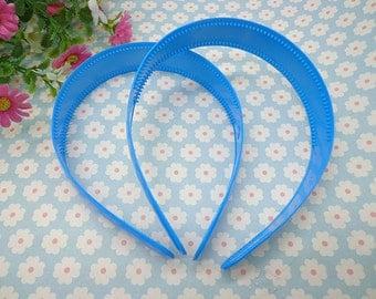5 pcs blue color plastic headband 25mm wide