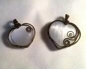 Selenite heart pendants