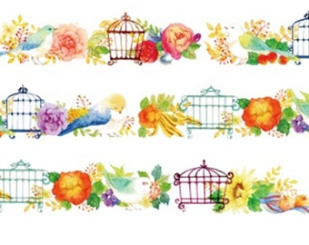 1 Roll of Limited Edition Washi Tape: Birds and Flower Cages