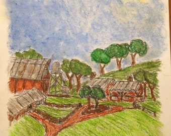 Ranch homestead oil pastel drawing
