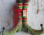 "Made to Order ~Primitive  Grungy Folk Art~ 12 1/2"" tall Christmas Elf Boots w/Striped Stockings~ HAFAIR"