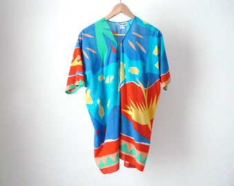 60s BOHO sheer HAWAIIAN floral billowy shirt top beach cover-up