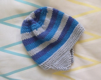 Hand knitted winter hat | 3 - 5 years child | wool blend earflap hat | grey, green, navy