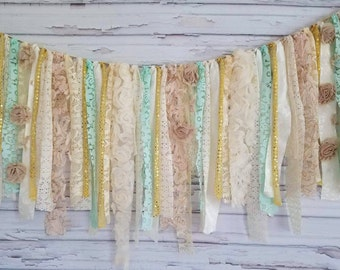 Mint and Gold Shabby Banner - Garland