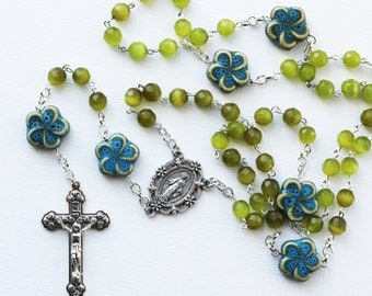 Contemporary Handmade Rosary--Contemporary Rosary--Glass/Ceramic Beads--Catholic--One of a Kind--Boho--Prayer--Olive Green/Turquoise--Pray