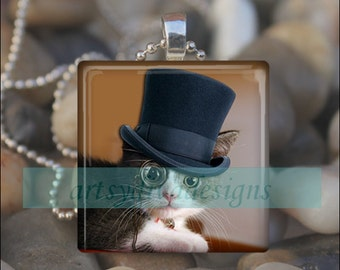 TOP HAT CAT Classy Kitty Glass Tile Pendant Necklace Keyring design 4