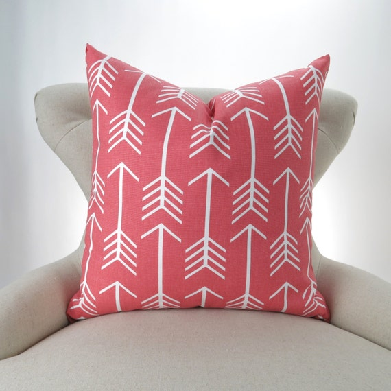 coral throw pillow cover arrow pattern many sizes euro. Black Bedroom Furniture Sets. Home Design Ideas