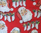 Vintage Ben-Mont Mid-Century CHRISTMAS Gift Wrap - Wrapping Paper - SANTAS and STOCKINGS - with Coordinating Gift Tag - 1950s
