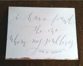 I Have Found the One Whom My Soul Loves Card, Calligraphy
