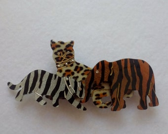 FREE - PRIORITY MAIL Shipping ************ Cheetah Leopard Elephant Hair Barrette Clip Accessory * Animal Barrette * Animal Lover