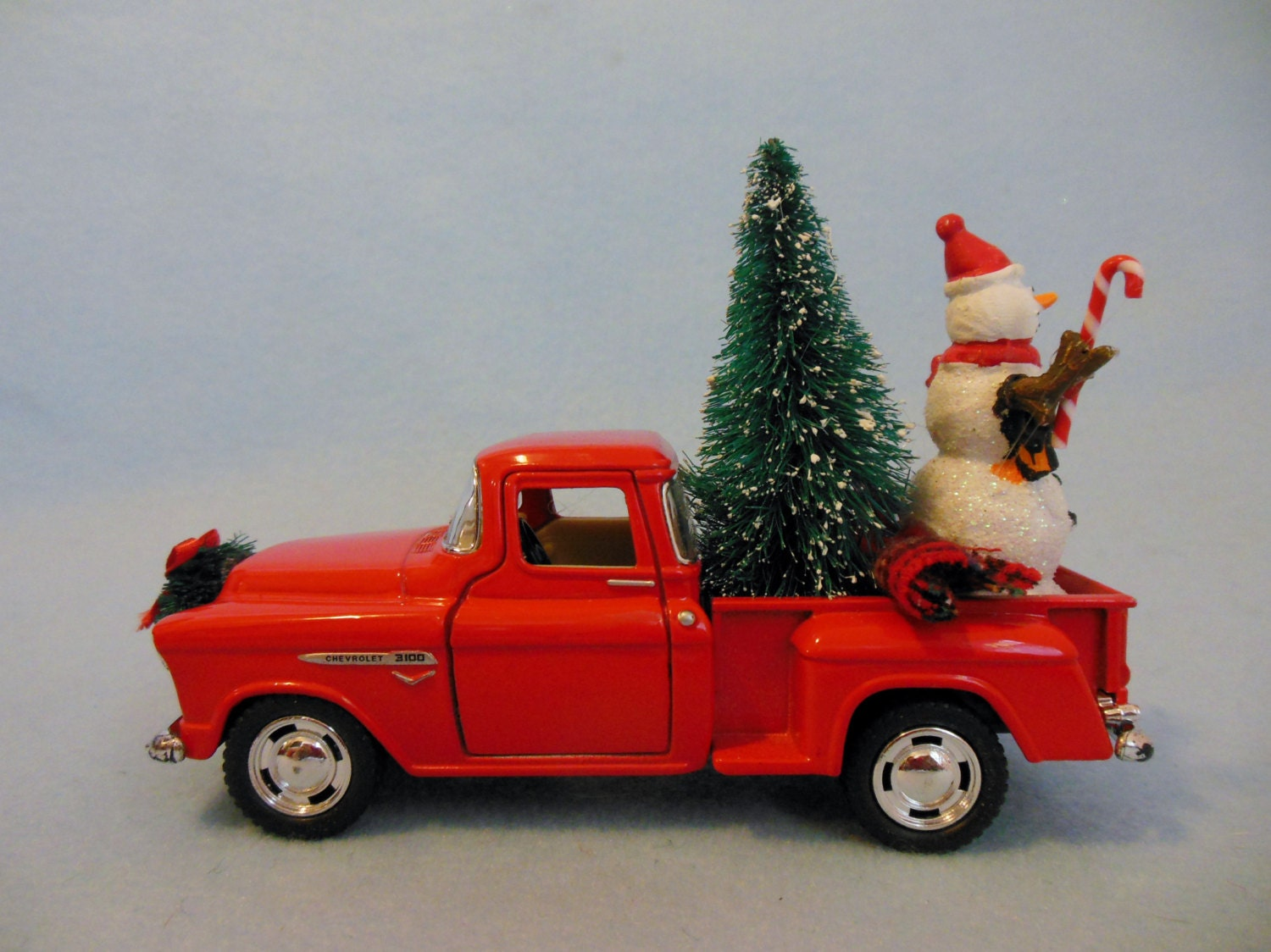 RED TRUCK Chevy Pick-up Truck with CHRISTMAS Tree and