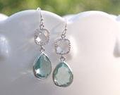 Sea Green Earrings - Aqua Green and Clear Bridesmaids Earrings - Seafoam Mint Clear Earrings - Wedding, Bridal, Prasiolite Green Amethyst