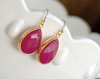 Ruby Stone Drop Earrings in Gold - Gold Filled Earwire - Bridesmaids Earrings - Red Earrings - July Birthstone Earrings, Bridesmaid Jewelry