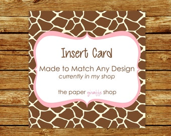 Made to Match Insert Card | Made to Match Party Printables | Party Printables Made to Match Any Design in my Shop | Insert Card