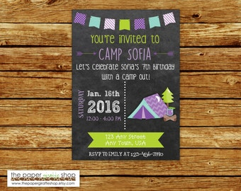 Camping Birthday Chalkboard Invitation   Purple Camping Invitation for Girls   Glamping Invitation   Glamping Party   Glamping Birthday