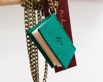 Wearable Leather Book - Miniature Book Pendant, love message