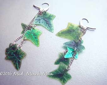 Ivy Leaf Cascade Earrings, handmade acetate leaves with silver plated chain latch back earrings
