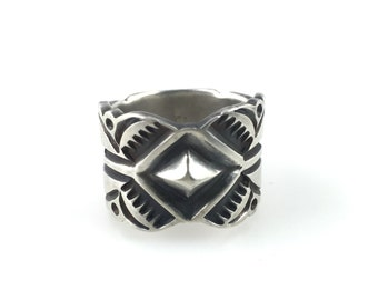 Heavy Silver Ring Stamped Design