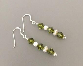 Swarovski Green Drop Earrings - Sterling Silver, Green Earrings, Drop Earrings, Swarovski Jewellery, Dangle Earrings, Dainty Earrings,