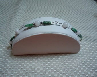 Jade and Sterling Silver Bracelet   1783