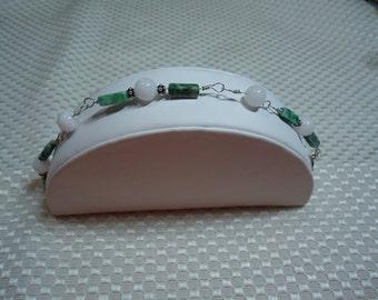 Jade and Sterling Silver Bracelet   1783