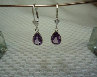 Pear Cut Amethyst Leverback Dangle Earrings in Sterling Silver