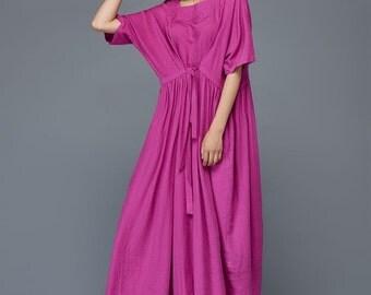 linen dress, long dress, pleated dress, summer dress, womens dress, loose fitting dress, elastic waist dress  C982