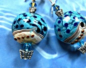 Lamp Work Blue White & Beige Earrings with 2 Butterflies