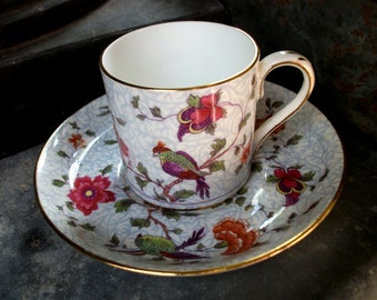 Bird of Paradise Crown Staffordshire Demi Cup and Saucer