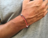 MENS CORD BRACELET, double color bracelet for men, for him jewelry, for boy, simplistic, handmade in Italy bracelet, minimalis