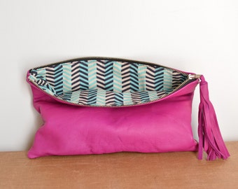 Fuscia Leather Fold Over Clutch