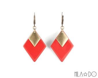 Tina Earrings in red || Enamel and brass diamonds dangle earrings