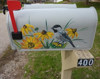 "Hand painted mailbox 'Black-eyed Susan and Chickadee"", Custom Valentine gift, yellow flowers & bird"