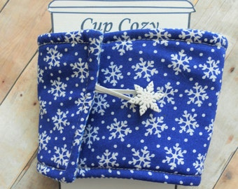 Blue Snowflake Christmas Winter Coffee Cozy