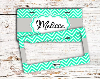 Personalized sweet 16 gift, Monogram license plate or frame, Unique gift for daughter, Mint and gray, Chevron bicycle license plate (1025)