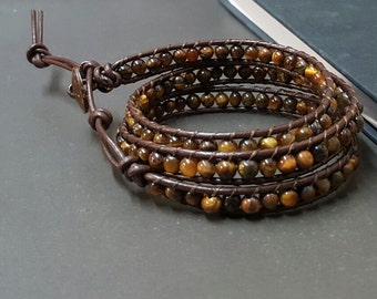 Tiger Eye Brown   Leather Wrap Bracelet